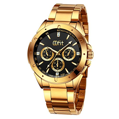 Gold Watches for Men, Men's Gold Stainless Steel Luxury Analog Wrist Watch with Classic Black Dial