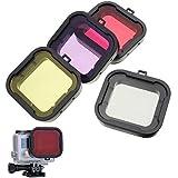 Hoomya Gopro hero 3+/4用 4カラーフィルター 色を補正する 高品質画像 外線透過フィルター スポーツカメラ対応 水中撮影可能 アクセサリー 4個入り
