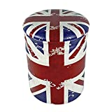 Round Iron Storage Ottoman UK Flag Design 11″x13″ inch Union Jack Vintage Retro Chic Rustic Home Living Room Decor For Sale
