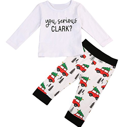 Toddler Christmas Outfits (2Pcs Baby Boys Long Sleeve Letter Romper T-shirt Pants Christmas Outfits (2-3 T, White))