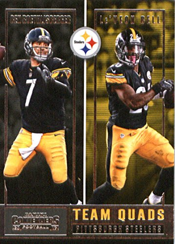 2017 Panini Contenders Team Quads #3 Antonio Brown/Ben Roethlisberger/James Harrison/Le'Veon Bell Pittsburgh Steelers Football Card