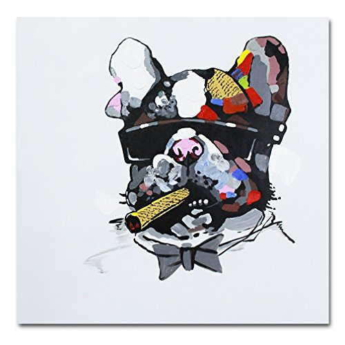 Fokenzary Hand Painted Painting Bulldog Boss Smoking Cigar on Canvas Wall Decor Framed Ready to Hang