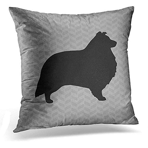 heltie Shetland Sheepdog Silhouette Grey Dog Decorative Pillow Case Home Decor Square 18x18 Inches Pillowcase ()