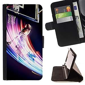 KingStore / Leather Etui en cuir / Samsung Galaxy S3 MINI 8190 / Baloncesto Remolino colorido