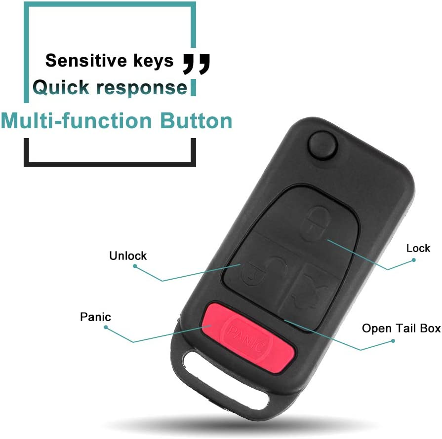 SELEAD Flip Key Fob 4 Buttons Keyless Entry Remote SHELL CASE fit for 1994-2005 Mercedes-Benz AMG S500 SL500 SLK230 SLK32 AMG SL600 ML430 Antitheft Keyless Entry Systems 2107601306 2pcs US Stock