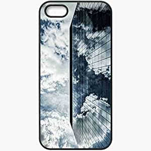 Protective Case Back Cover For iPhone 5 5S Case Building Up Glass Window Sky Black