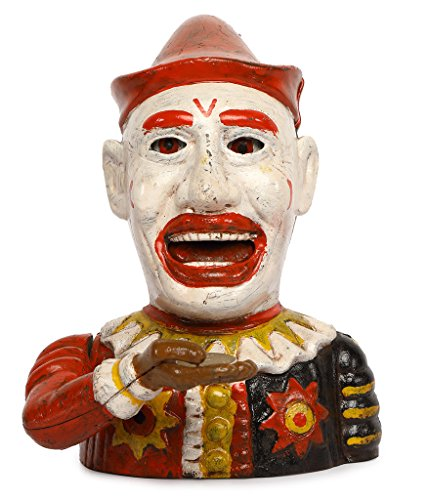 SafeDeals Antique / Vintage Style Cast Iron Mechanical Clown Money Box Money Bank Piggy Bank - Vintage Cast Iron Toy