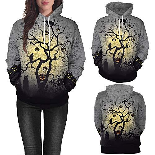 MOKO-PP Women Halloween Pumpkin Print Long Sleeve Pullover