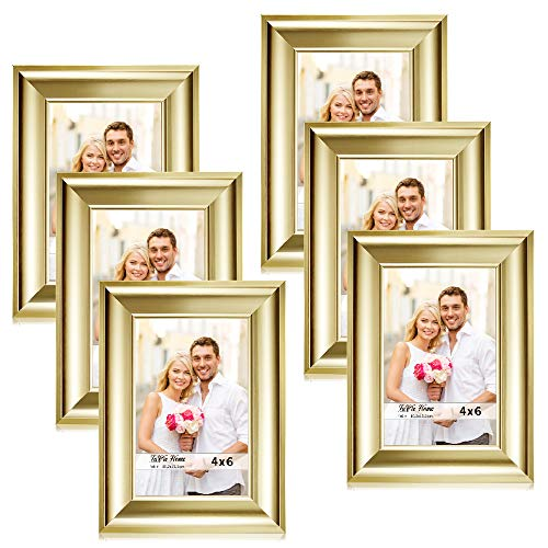 LaVie Home 4x6 Picture Frames(6 Pack,Gold) Photo Frame Set with High Definition Glass for Wall Mount & Table Top Display]()