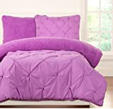 2 Piece Girls Purple Plush Pintuck Pattern Comforter Twin Set, Beautiful Pinch Pleated Diamond Textured Design, Soft & Snuggly Faux Fur Reversible Bedding, Solid Color, High Class Microfiber Material