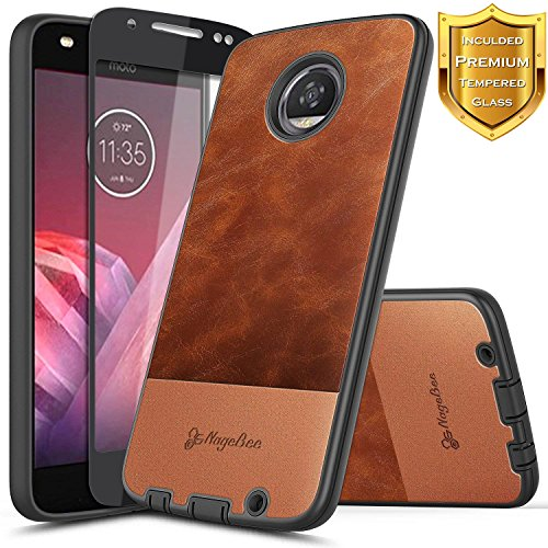 Moto G6 Case with [Full Coverage Tempered Glass Screen Protector], NageBee Premium Cowhide Armor Defender Dual Layer Shock Proof Hybrid Case for Motorola Moto G (6th Generation) -Brown