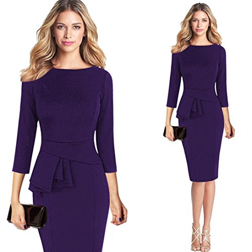 GoodLock Women Girls Fashion Dress Lady Female Elegant Frill Peplum 3/4 Gown Sleeve Work Business Party Sheath Dress (Purple, Size: XL) ()
