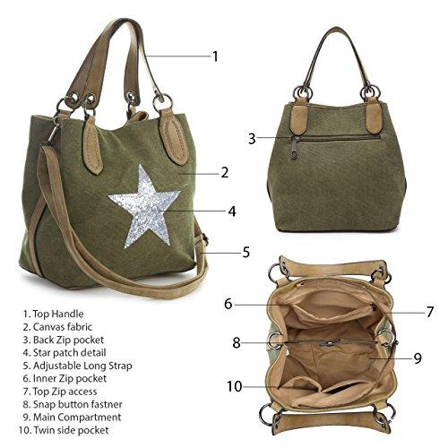 Glitter Fabric Canvas Size Shop Trendy Inspired Mini Deco Handle Big Handbag Medium Top Star Designer Shoulder Studs Bag Orange tEwqRznF