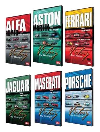 Victory By Design DVDs. Complete Set. Porsche DVD, Ferrari DVD, Maserati DVD, Aston Martin DVD, Alfa Romeo DVD, Jaguar DVD. Race-winning cars driven hard. Unique footage, rare cars, hidden in private collections. ''Car Porn'' The New York Times by speedchanneldvdscom