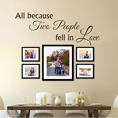 All Because Two People Fell In Love Vinyl Wall Quote Baby Nursery Wall Art Wedding Wall Sticker Couple Lovers Decor Art£¨Medium,Dark Brown£©