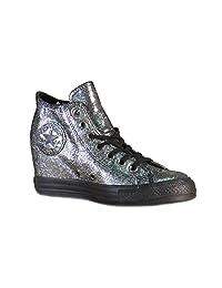 Converse Women's Chuck Taylor Lux Mid Hidden Platform Wedge Silver/Black/Black