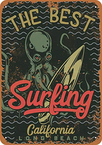 Wall-Color 9 x 12 Metal Sign - The Best Surfing Long Beach Octopus