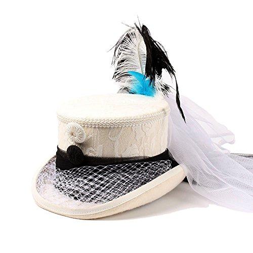 Sombrero Tamaño Sounded Victoriano Blanco Encaje Panama Blanco Gótico color Y 61cm Dama Marfil Peng Negro De Corsé xHzIcdq6