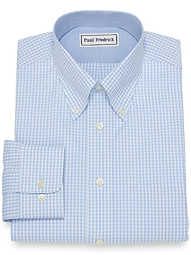 Iron Paul Fredrick Non (Paul Fredrick Men's Slim Fit Non-Iron Cotton Gingham Dress Shirt Sky Blue 16.0/32)