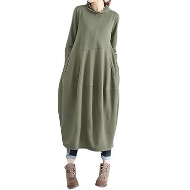 Women Dress Godathe Women Plus Size High Collar Splicing Cotton and Linen Loose Lantern Long Dress