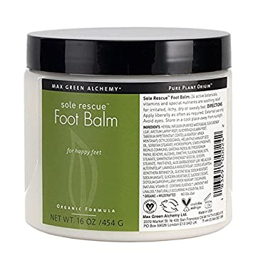 Max Green Alchemy Organic Formula Sole Rescue Foot Balm Jar 16 Ounces – Soothes Dry, Itchy and Irritable Feet, Non Greasy