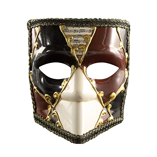Full Face Bauta Mask Masquerade Vintage Retro Venetian Costume Mardi Gras Halloween Party (red F)]()