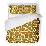 SanChic Duvet Cover Set Brown Cartoon Giraffe Skin Africa Fur Spots Abstract African Decorative Bedding Set 2 Pillow Shams King Size