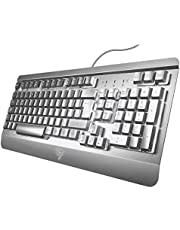Gaming Keyboard UK, VicTsing Ultra-Slim All-Metal Frame USB Wired Keyboard with Comfortable Wrist Rest, Rainbow LED, 12 Multimedia Shortcut Keys, 19-Key Anti-Ghosting Easy Connect to Laptop, PC etc.