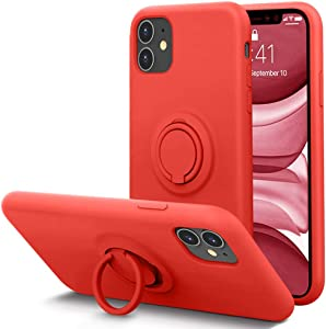 KUMEEK for iPhone 11 Case Fingerprint | Kickstand | Anti-Scratch | Microfiber Liner Shock Absorption Gel Rubber Full Body Protection Liquid Silicone Case for iPhone 11-Red