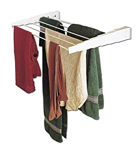 household essentials wall mount telescoping indoor clothes drying rack home kitchen. Black Bedroom Furniture Sets. Home Design Ideas