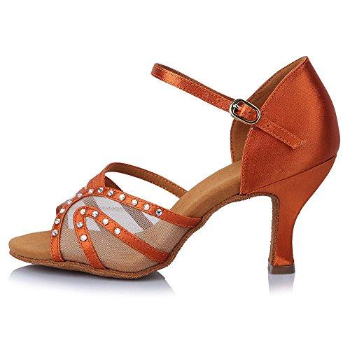 YFF Professional Customised Heels Women's Ballroom Latin Dance Shoes Satin Tango 65MM 45013 WnyWjWoe