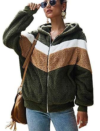 N NORA TWIPS Womens Fuzzy Fleece Pullover Long Sleeve Zip Sherpa Sweatshirt Coat Outwear Army Green