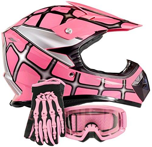 Youth Kids Offroad Gear Combo Helmet Gloves Goggles DOT Motocross ATV Dirt...