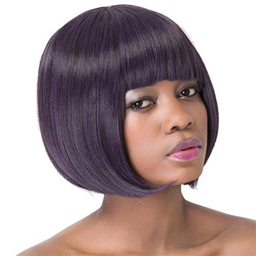 Women Wigs Purple Black Wig Women's Short Straight Full Hair Wigs Party Fancy Dress Halloween For Black Women Lady (Womens Fancy Dress Wigs)