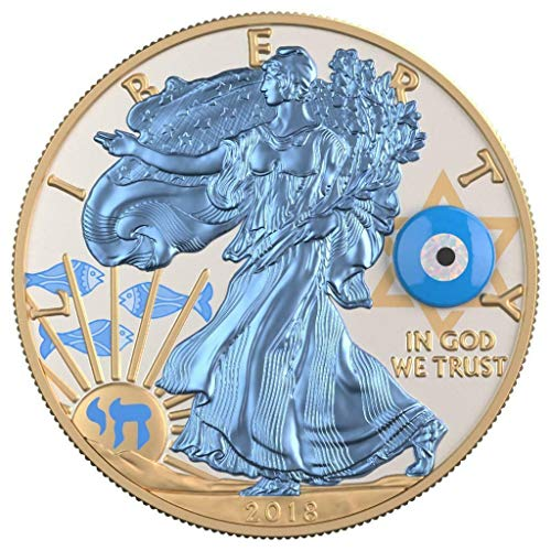 Eagle Gemstone - 2019 BU USA 2018 $1 Silver Eagle Gemstone Evil Eye 1 Oz Silver Gilded Coin 500 pcs only - Silver Coin - $1 Uncirculated BM