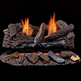 Duluth Forge Ventless Dual Fuel Set-24 T-Stat Control Gas logs Split Red Oak
