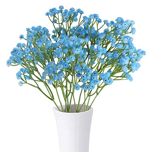 XYXCMOR Baby Breath Artificial Flowers 4pcs Gypsophila Bouquets Fake Plants for Home DIY Wreath Wedding Boutonniere Garland Hair Accessories Decor Blue