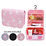 Portable Cosmetic Bag Alpaca Makeup Pouch Travel Toiletry Bag with Hanging Hook