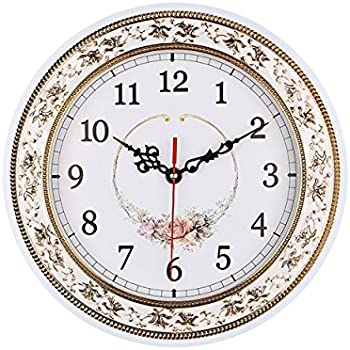 foxtop 11 inch resin floral wall clocks for living room kitchen home decoration vintage style clocks
