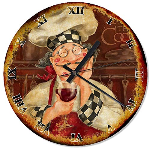 French Chef Wine and Grape Wall Clock 30cm(11,8