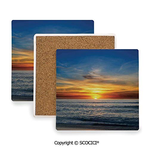 Ceramic Coaster With Cork Mat on the back side, Tabletop Protection for Any Table Type, Square coaster,Ocean Decor,Sunset Over the Pacific Ocean From La Jolla,3.9
