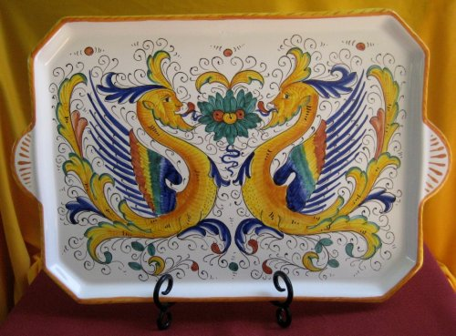 Raffaellesco Deruta Rectangular Serving Tray - Italian Ceramics - Pottery - Majolica - - YOUR Discounted Price Today is $98.00. (retail price $269.00) - INVENTORY CLEARANCE -