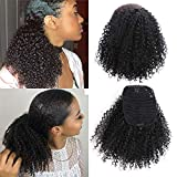 Stamped Glorious Afro Ponytail Kinky Curly Drawstring Ponytail Black Color Hair Extensions Ponytail Afro Puff Ponytail for Natural Hair Drawstring Curly Ponytail for Women