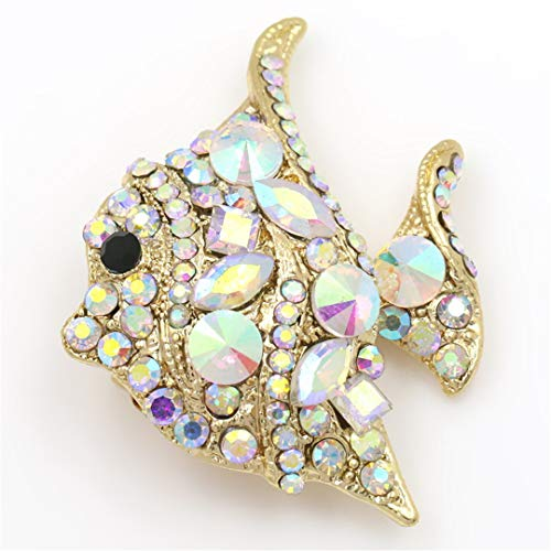 AHDUNCSIOWHG Green and AB Color Crystal Rhinestones Colorful Flatfish Fish Brooch Pins for Women ab Crystal