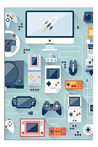 JP London Solvent Free Art Print PAPM2498 Ready to Frame Poster Retro Gamer Nintendo Video Game Control at 36
