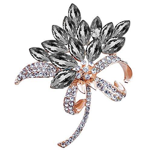 MUZHE Vintage Rhinestone Orchid Flower Crystal Brooch Pin Bowtie Wedding Jewelry (Black Rhinestone Flower Brooch)