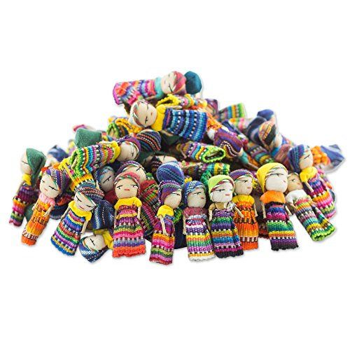 - NOVICA Decorative Colorful Miniature Collectible Doll Cotton Figurines, Traditional Worry Dolls from Guatemala, 'The Worry Doll Clan' (set of 100)
