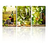 wine and grape art - Canvas Wall Art Grapes and Wine Canvas Painting Green Vineyard Kitchen Wal Decor 30