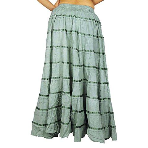 Wear Maxi Beach algodón falda larga de encaje de Boho del Hippie Ropa Gris-1