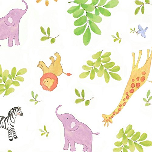 Safari Animals Lion Elephant Baby Toss White 100% Cotton Fabric by The Yard